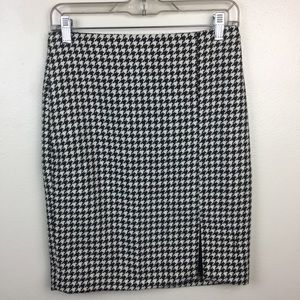 WHBM Black White Gingham Knee Length Pencil Skirt